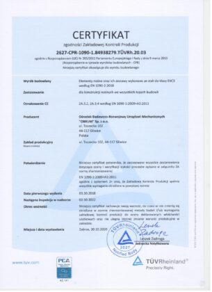 Certyfikat zgodności Zakładowej Kontroli Produkcji 2627-CPR-1090-1.84938279. TÜVRh.20.03