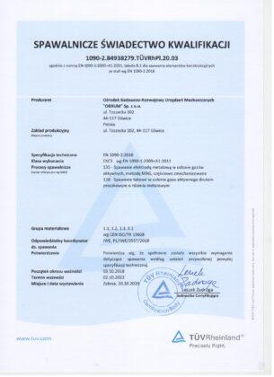 Spawalnicze Świadectwo Kwalifikacji 1090-2.84938279. TÜVRhPl.20.03