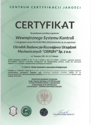 Certyfikat potwierdzający funkcjonowanie w OBRUM Wewnętrznego Systemu Kontroli (WSK)