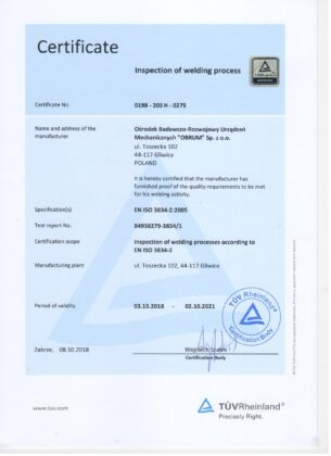 Inspection of welding processes according to EN ISO 3834-2