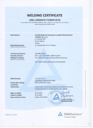 Welding Certificate 1090-2.84938279. TÜVRhPl.20.03