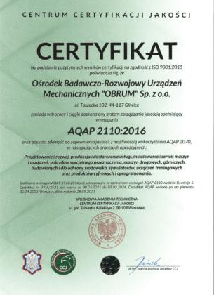 Certyfikat zgodności systemu zarządzania jakością z wymaganiami AQAP 2110:2016