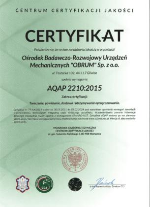Certyfikat zgodności systemu zarządzania jakością z wymaganiami AQAP 2210:2015