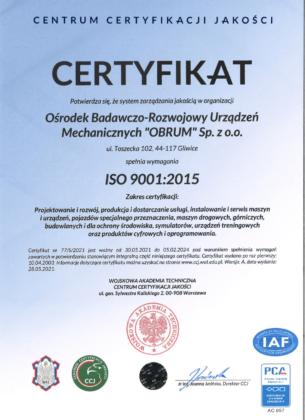 Certyfikat zgodności systemu zarządzania jakością z wymaganiami normy ISO 9001:2015